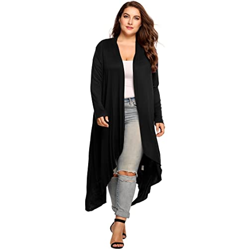 90b2d25343d3f Zeagoo Women s Plus Size Long Sleeve Waterfall Asymmetric Drape Open Front  Long Maxi Cardigan Sweater L