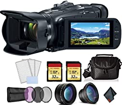 Canon Vixia HF G50 UHD 4K Camcorder (Black) Bundle with 2X 32 GB Memory Cards + LCD Screen Protectors + 3pcUV Filter + Tel...