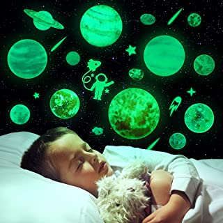 Toyvian Glow in The Dark Stars and Planets,Bright Solar System Wall Stickers,15 Glowing Ceiling Decals for Bedroom,Sun Ear...