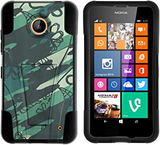 Compatible with Nokia Lumia 635/630 Hybrid Cover, High Impact Cover Two Layer Case Soft Silicone Hard Shell Kickstand by TurtleArmor - Blue Green Abstract Paint