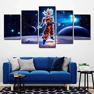 Wall Art Picture 5 Pieces Prints on Canvas Dragon Ball Z Goku Wall Art Printing Photo Image Canvas Prints Modern HD Artwork for Living Room Bedroom Home Decorations(Frameless),L [Energy Class A],LARGE