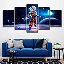 Wall Art Picture 5 Pieces Prints on Canvas Dragon Ball Z Goku Wall Art Printing Photo Image Canvas Prints Modern HD Artwork for Living Room Bedroom Home Decorations(Frameless),L [Energy Class A],SMALL