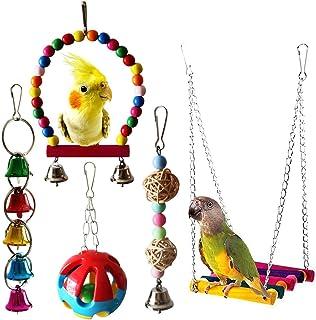 Mumoo Bear 5-Piece Bird Parrot Toys Hanging Bell Pet Bird Cage Hammock Swing