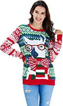 RAISEVERN Unisex's Ugly Christmas Sweater LED Light Up Xmas Holiday Party Knitted Pullover