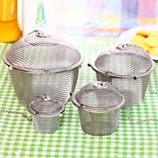 Chained Lid Spice Seasoning Bag Mesh Ball Shape Tea Filter Basket Infuser Tea Strainer Stainless Steel Kitchen Tools by Xi...