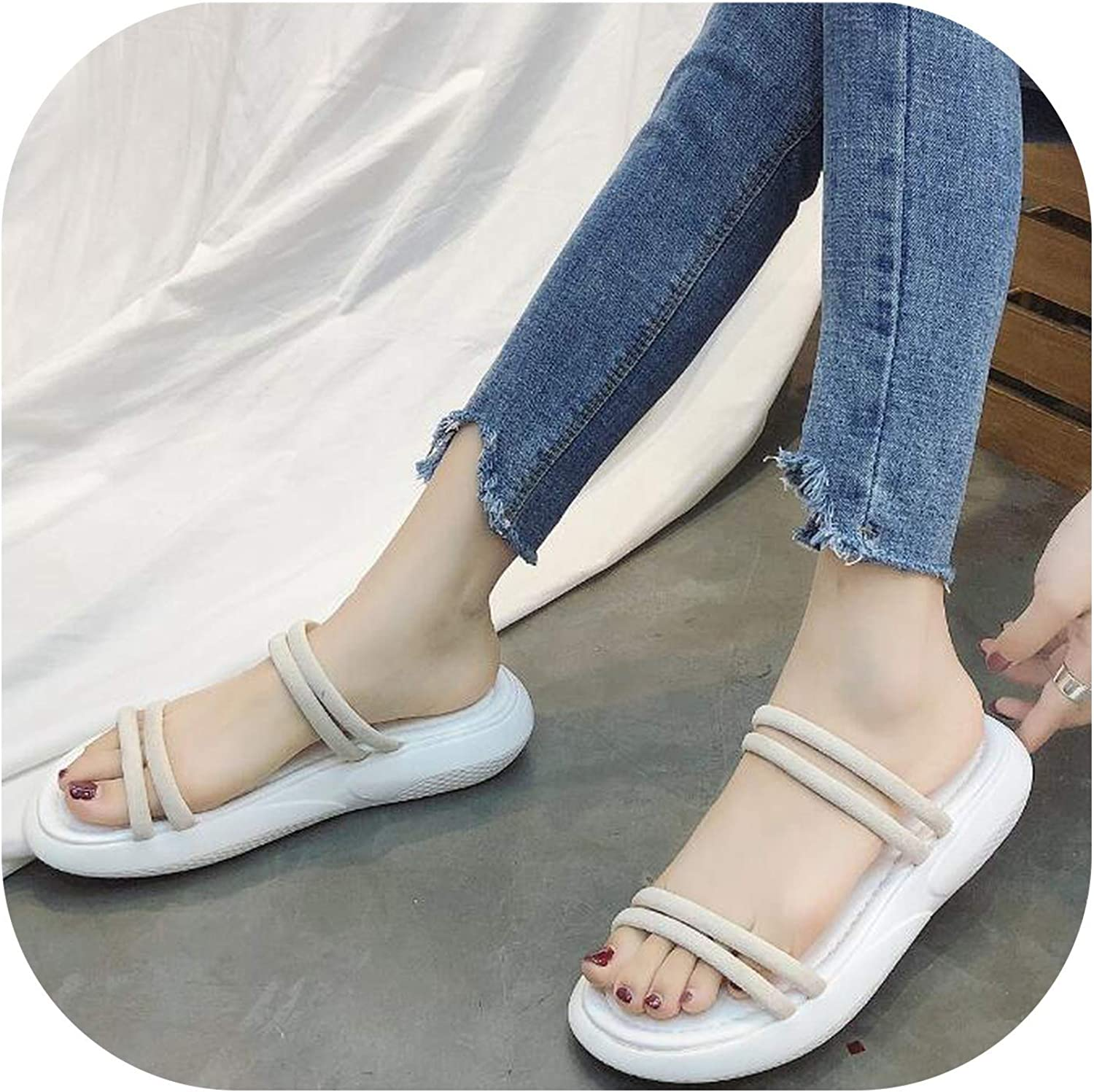 Gooding Day Fashion Leisure Ankle Strap Flat Women Sandals Fish Mouth Sandals Front Rear Strap Flat Sandals