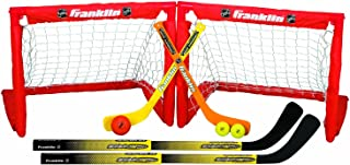 Franklin Sports Kids Folding Hockey 2 Goal Set - NHL - Street Hockey & Knee Hockey - Includes 2 Adjustable Hockey Sticks, 2 Knee Hockey Sticks, 2 Hockey Balls - 24 x 19 x 19 Inch Goal