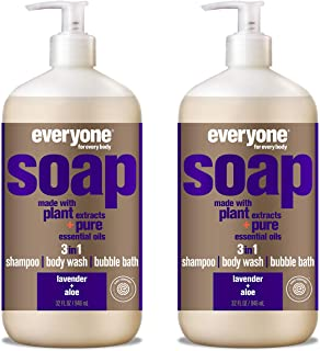 Everyone 3-in-1 Soap - Body Wash, Shampoo, and Bubble Bath - Lavender + Aloe, 32 Fl Oz (Pack of 2)