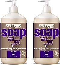 Everyone 3-in-1 Soap - Body Wash, Shampoo, and Bubble Bath - Lavender + Aloe, 32 Fl Oz (Pack of 2)