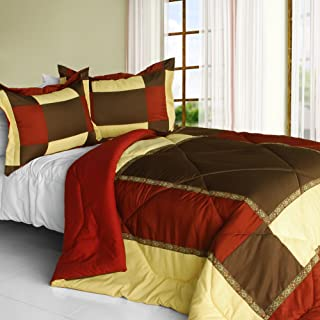 [Warm Dream] Quilted Patchwork Down Alternative Comforter Set (King Size)