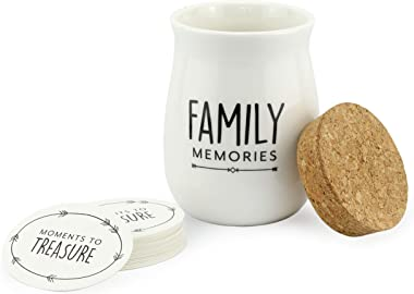 Darware Family Memories Ceramic Jar, Keepsake Gift with 50 Write-On Tickets
