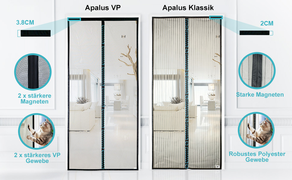 71GcpTn y1L Apalus VP Magnet Fliegengitter Tür, Insektenschutz Balkontür 80x200 cm, 2 x Langlebiger als der Apalus Klassiker, Katzen…