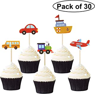 Pack of 30 Transportation Theme Cupcake Toppers Car Truck Ship Airplane Train Cupcake Picks Baby Shower Birthday Party Decoration Supplies
