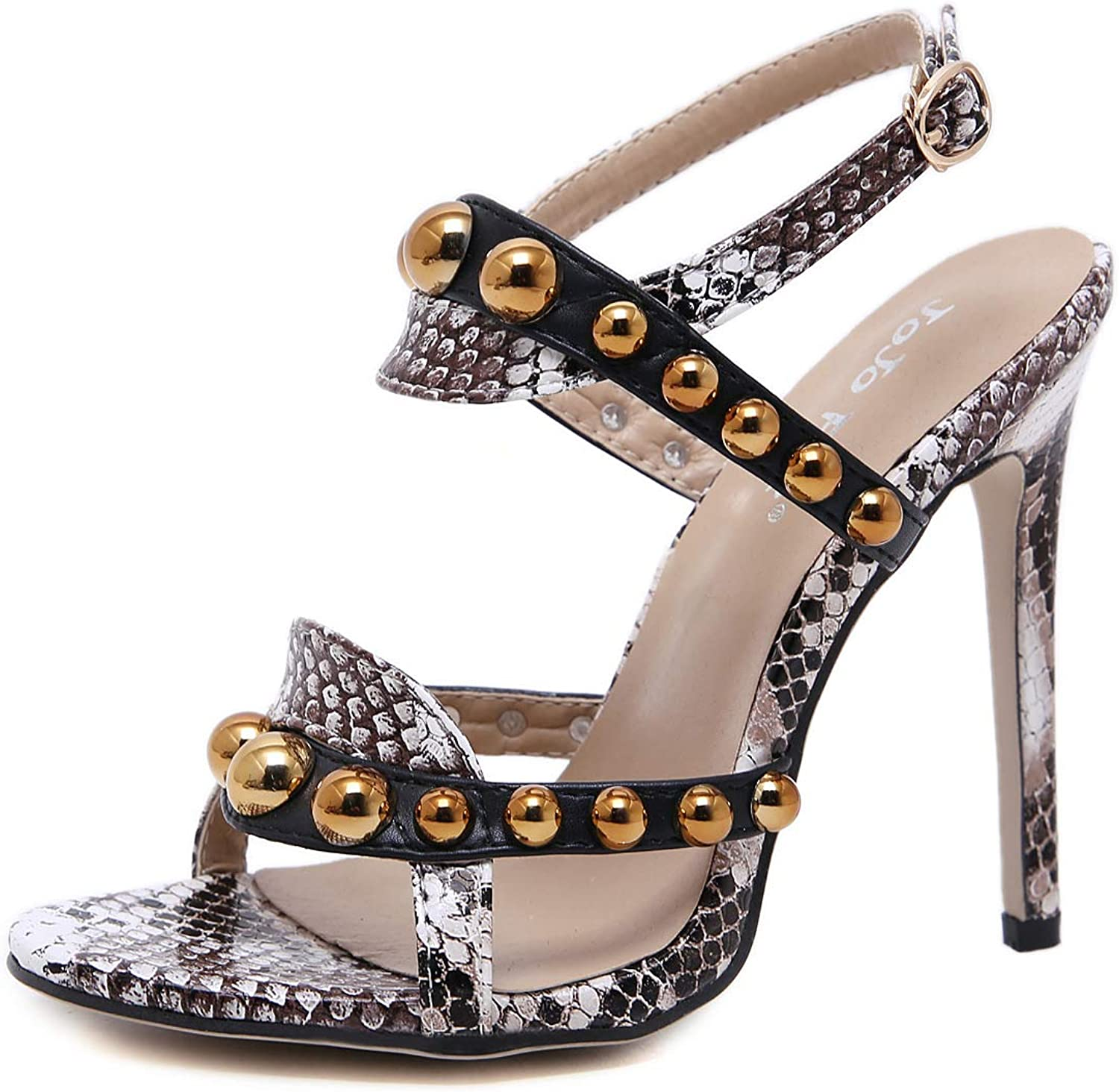 Women Pointed Rivets Stiletto Sandals Sexy Open Toe Ankle Strap Hollowing Out Snake Skin Pattern shoes