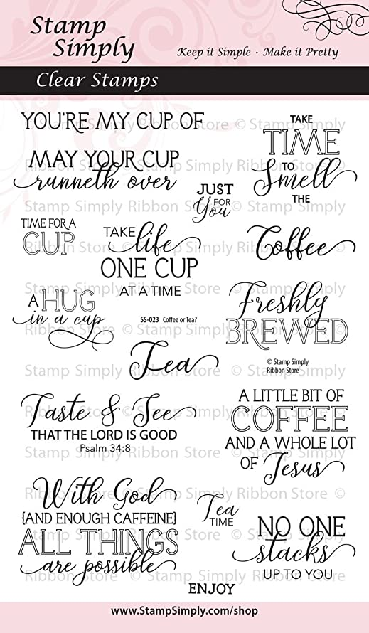 Stamp Simply Clear Stamps Coffee Cup or Tea Mug Set Christian Religious 4x6 Inch Sheet -16 Pieces
