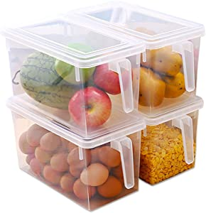 Ovetour Plastic Food Storage Containers,with Lid and Handle,Food Storage Organizer Box Fresh Box for Kitchen Refridgerator Fridge Desk Cabinet Food Storage,Holds Fruit Eggs Vegetables,5L Pack of 4