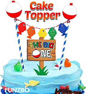 FunzBo Ofishally One First Birthday Cake Topper - The Big One Fishing Themed Cake Decorations - 1st Gone Fishing Theme Cake Topper - Party Supplies Decoration