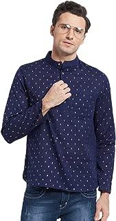 Shatranj Men's Mandarin Collar Shirt-Length Untucked Block Print Kurta Tunic