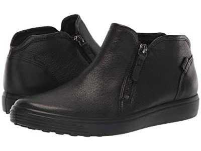 ECCO Soft 7 Low Cut Zip Bootie (Black Cow Leather) Women