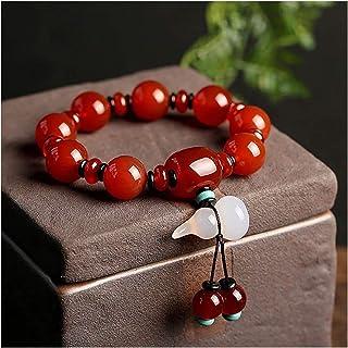 Feng Shui Wealth Bracelet Red Carnelian Agate Wu Lou Hulu Calabash Pendant Bracelet Healing Chakra Crystal Gemstone Talism...