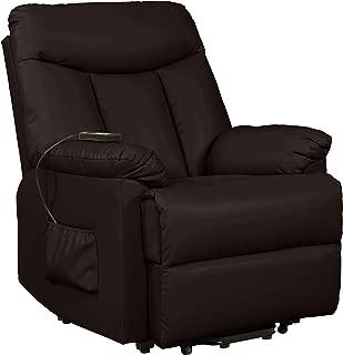 Domesis Renu Leather Wall Hugger Power Lift Chair Recliner, Brown Renu Leather