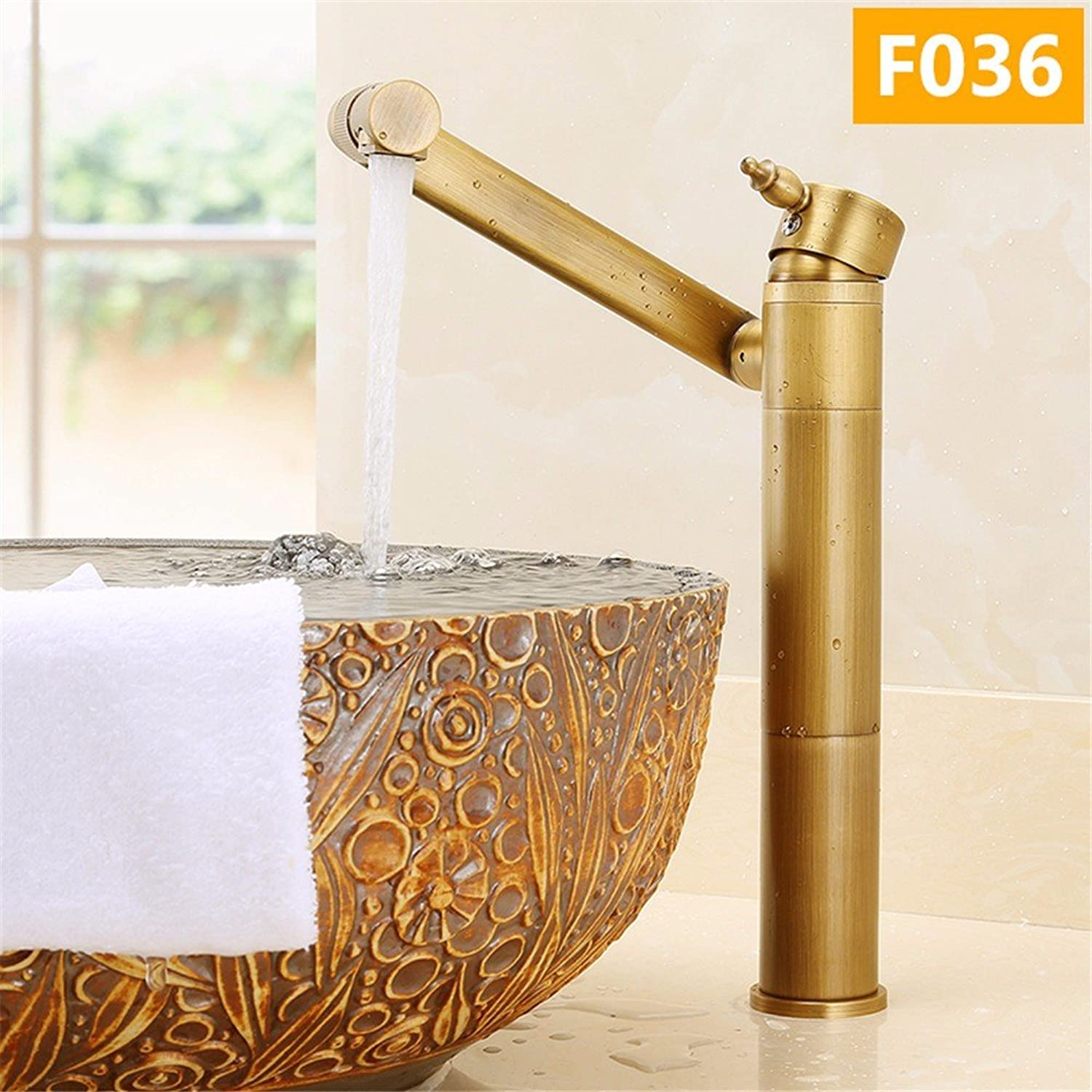 Hlluya Professional Sink Mixer Tap Kitchen Faucet The copper basin cold water tap can be 360 degree redating black-plated antique Vanity basin mixer