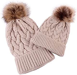 Lurryly❤Family Matching Warm Hat for Women Kids Baby Keep Hats Knitted Wool Hemming
