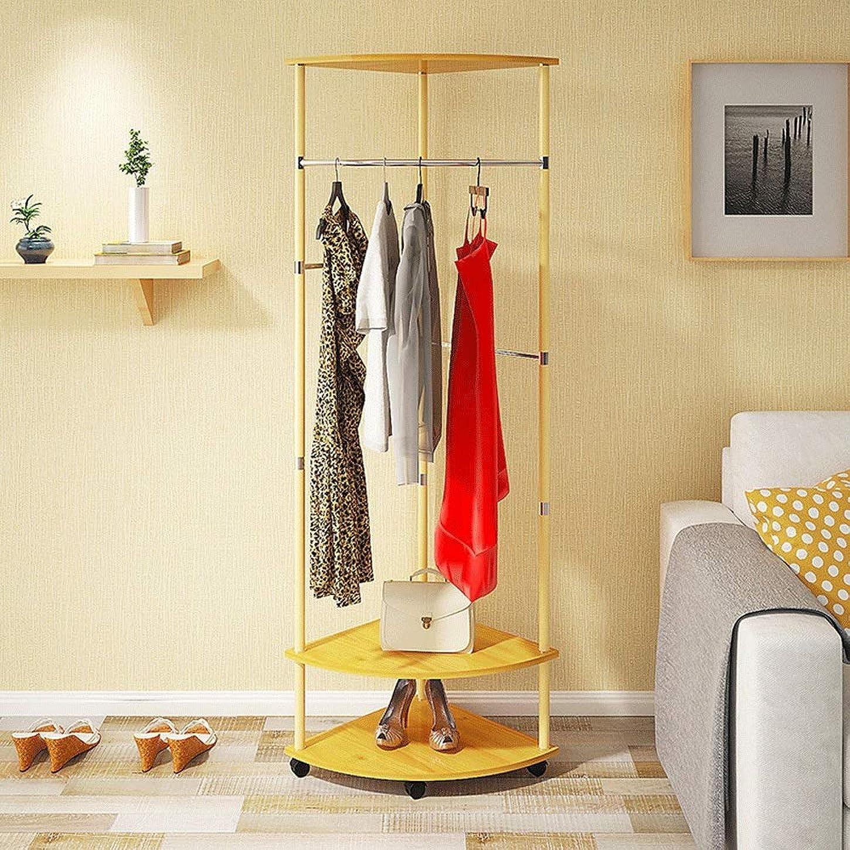 操作テニス苦味コートラック 家の木製の掛かる衣服は2つの層の貯蔵の棚が付いているスペース節約のコートの棚を悩まします コートラック自立 (Color : Natural, Size : 46×178cm)