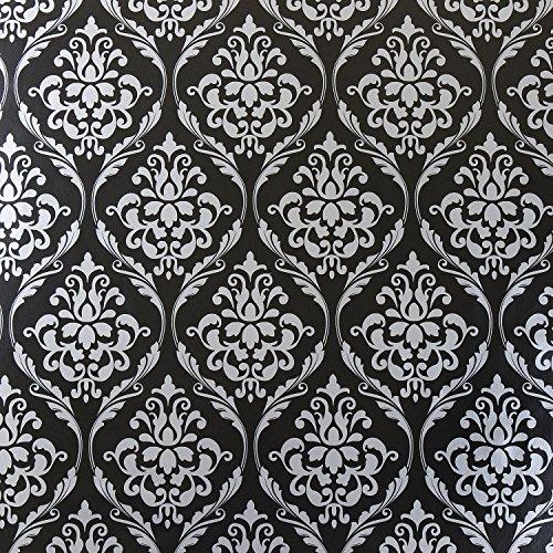 Jolee Fabrics - Tovaglia in vinile PVC damascato nero e argento, facile da pulire, impermeabile, igienica e lavabile al metro, 140 cm, rotonda