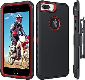 BENTOBEN iPhone 8 Plus Case, iPhone 7 Plus Case, iPhone 6S Plus Case, iPhone 6 Plus Case, Heavy Duty Rugged Protective Belt Clip Holster Cases for iPhone 8 Plus / 7 Plus / 6S Plus / 6 Plus, Black/Red