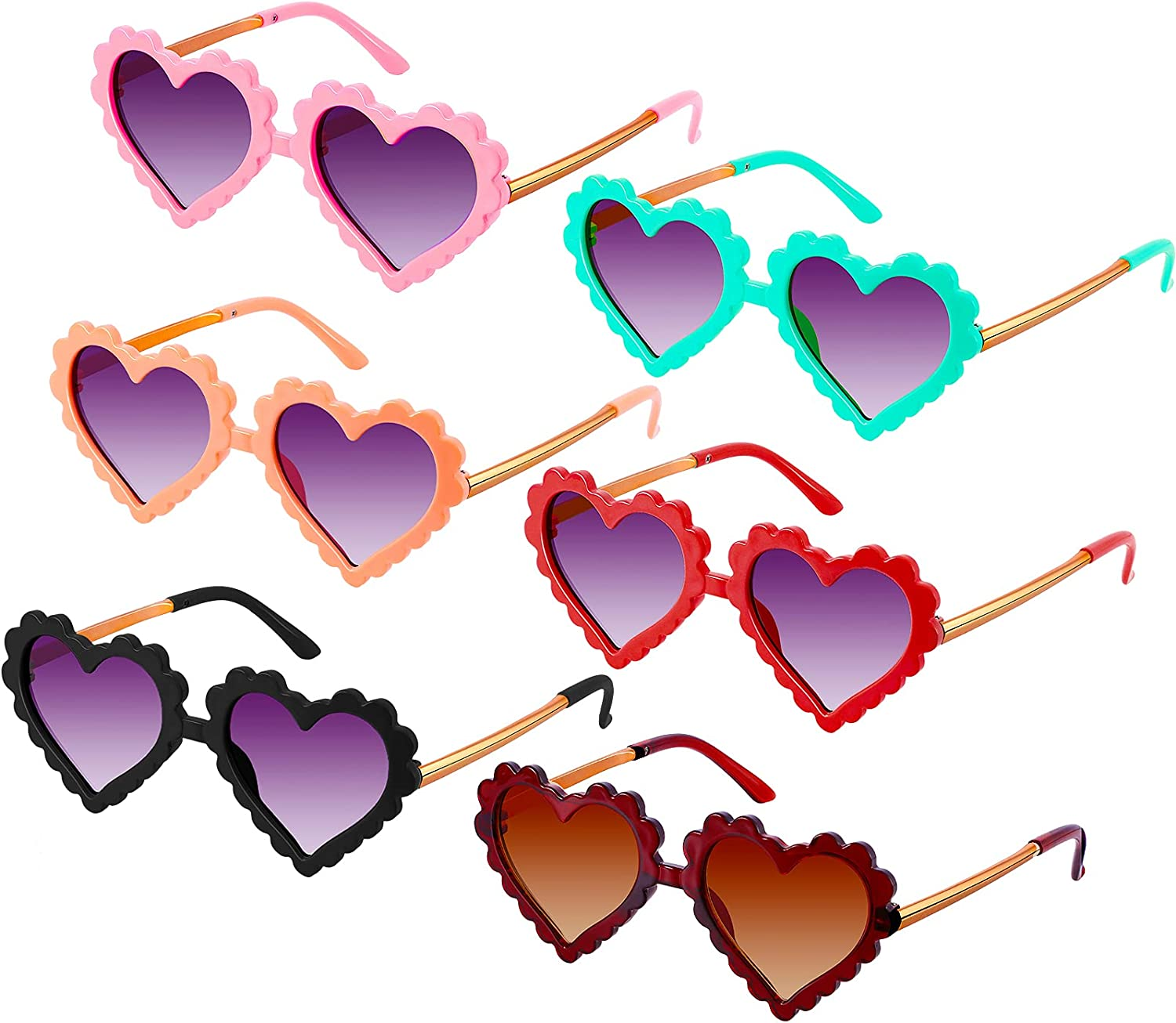 Gulfmew 6 Pairs Toddler Kids Shaped Sunglasses Heart Bargain sale Excellent
