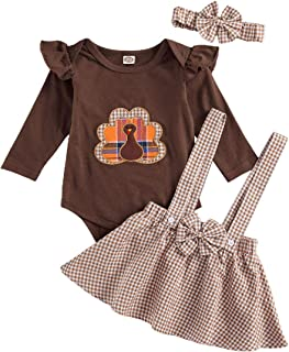 3PCS Newborn Baby Girl Thanksgiving Clothes Ruffle Long Sleeve Turkey Romper Top+Plaid Suspender Skirt+Headband Outfit Set