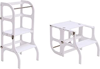 Montessori furniture Learning tower/table/chair, toddler Kitchen helper Step stool - WHITE color/SILVER clasps