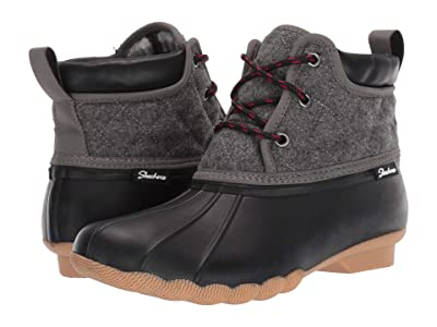 SKECHERS Mid Quilted Lace-Up Boot (Black/Charcoal) Women