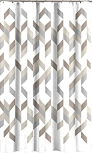 C.H.D Home Modern Silver Grey Taupe Beige Geometric Fabric Shower Curtain
