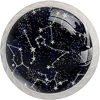 Boutons De Tiroir Verre Cristal Rond Poignées d'armoires tirer 4 pièces,Les constellations de minuit