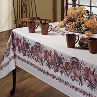 Benson Mills Thanksgiving Printed Fabric Tablecloth, 60-Inch-by-120 Inch