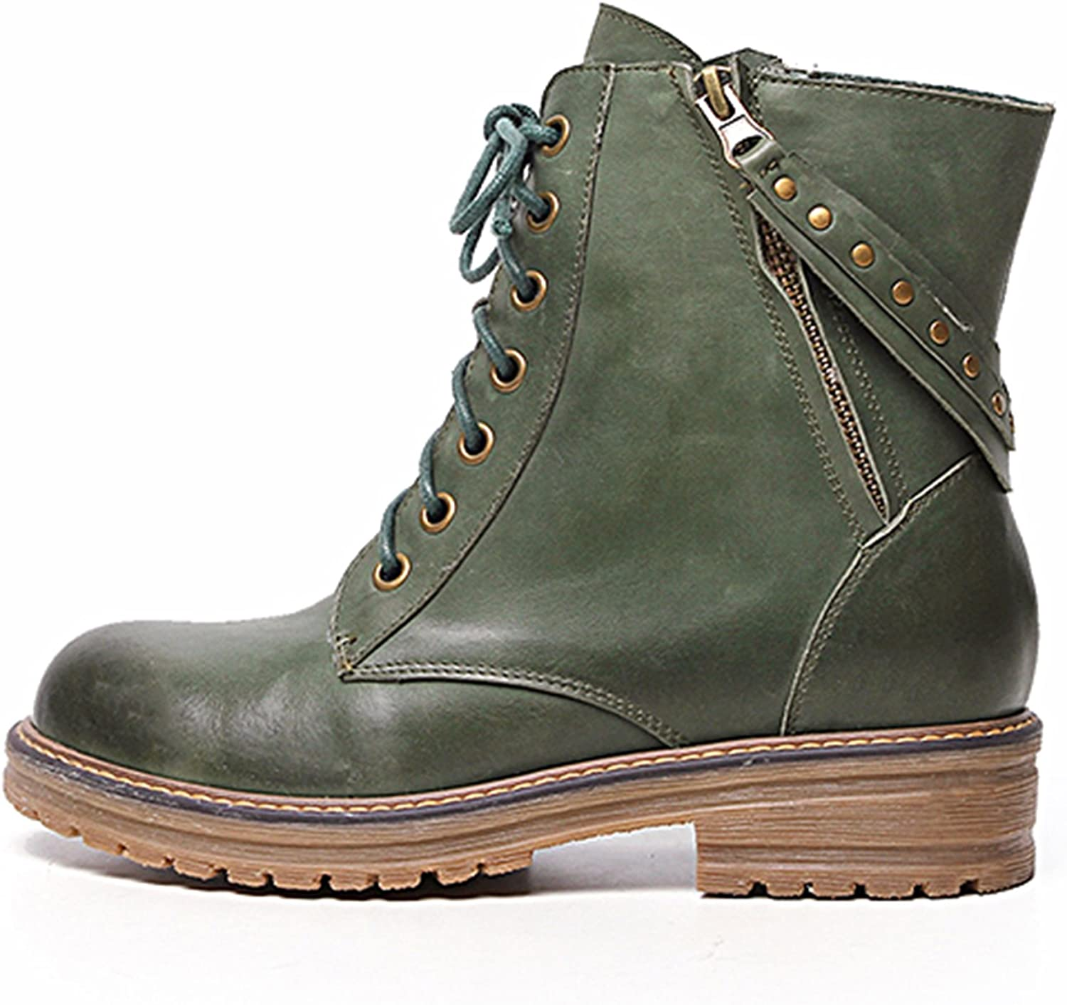 MINIVOG Stacked Heel Treaded-Sole Womens Military Boots Distressed with Straps