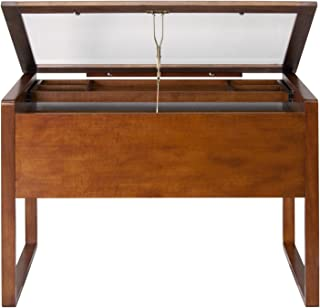 Offex Ponderosa Glass Topped Table/Sonoma Brown