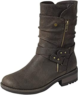 Women's Cross Buckle Ankle Boot Side Zipper Disdress Overlay Motorcycle Boot with Studs and Overlay Military Western AC03