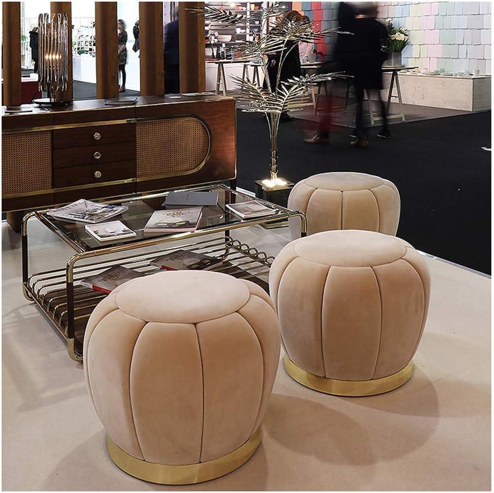 ZYDJ SS Repose-Pieds Siège Ottoman Pouf Chaise Ronde Tabouret Velvet Luxury Cover pour Maison Bureau Salon Chambre Chargement Maxde 225 Kg Beige