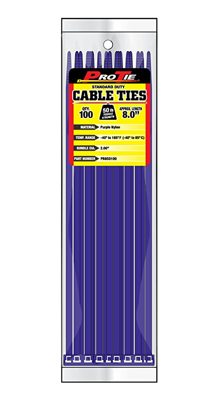Pro Tie PR8SD100 8-Inch Purple Standard Duty Color Cable Tie, Purple Nylon, 100-Pack