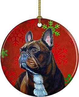 Caroline's Treasures LH9340-CO1 French Bulldog Red Snowflake Holiday Christmas Ceramic Ornament, Multicolor