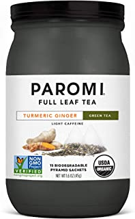 Paromi Tea Organic Turmeric Ginger Green Tea, 15 Pyramid Tea Bags - Non-GMO