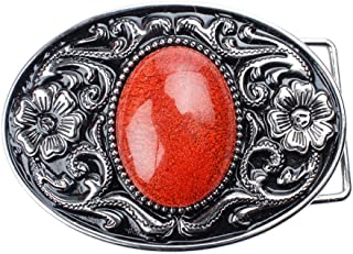 Baosity Silver Flower&Glass Pattern Belt Buckle With Gorgeous Bulge Smooth Gemstone