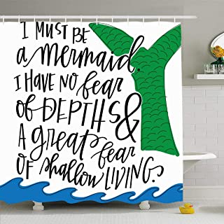 Ahawoso Shower Curtain 72x78 Inches Handlettered Blue Hand Mermaid Quote Green Saying Ocean Anais Nin Living Waterproof Polyester Fabric Bathroom Curtains Set with Hooks