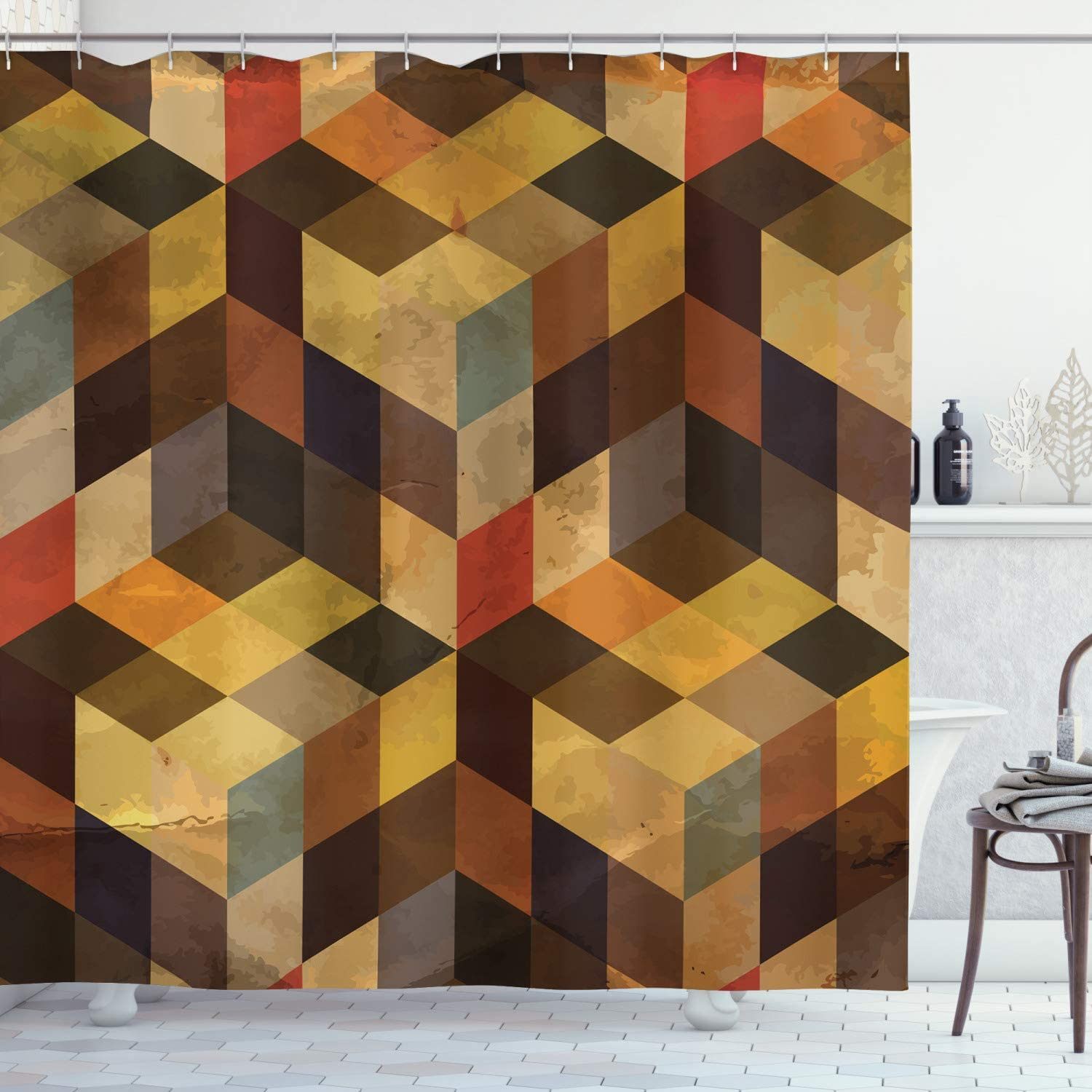 Ambesonne Modern latest Shower Curtain Max 73% OFF Shaped Lines Square Geometrical