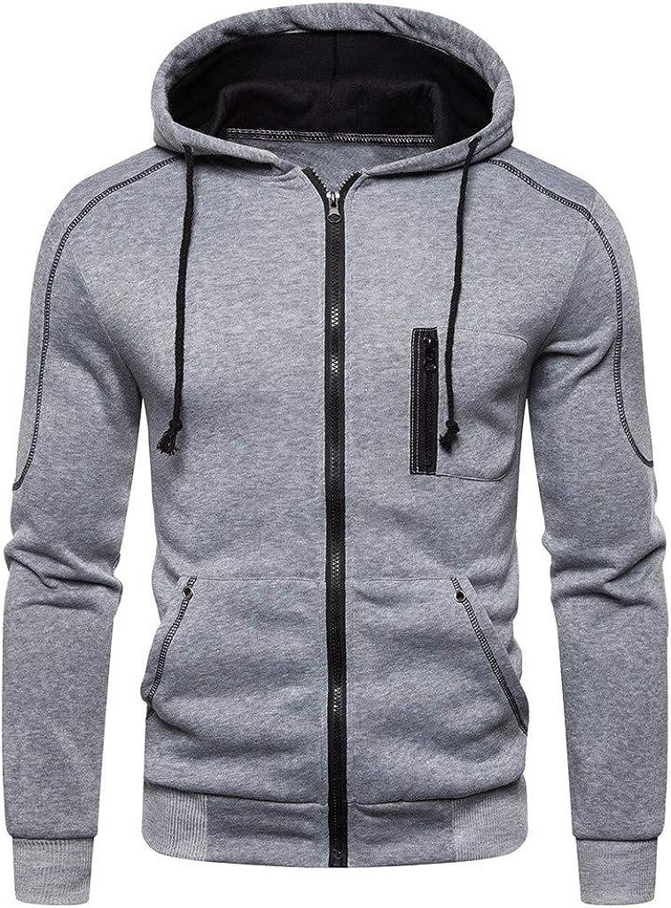 HONGJ Zipper Hoodies for Mens, Fall Long Sleeve Hooded Sweatshirts Drawstring Workout Casual Zip Up Jackets Outwear