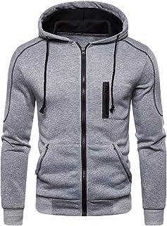 Men Hoodie Sweatshirts Casual Pure Color Drawstring Zipper Long Sleeves Coat Tops Autum Winter