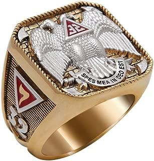UNIQABLE Scottish Rite 32 Degree Masonic Ring 18K Gold PLD Yellow Version 40 Grams Templar Handcrafted BR-5